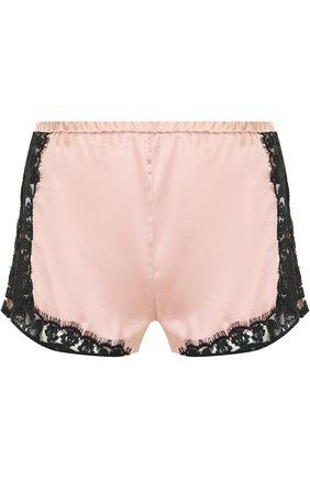 Шелковые мини-шорты с контрастными кружевными вставками Fleur du Mal X Kilian розовые   Фото №1