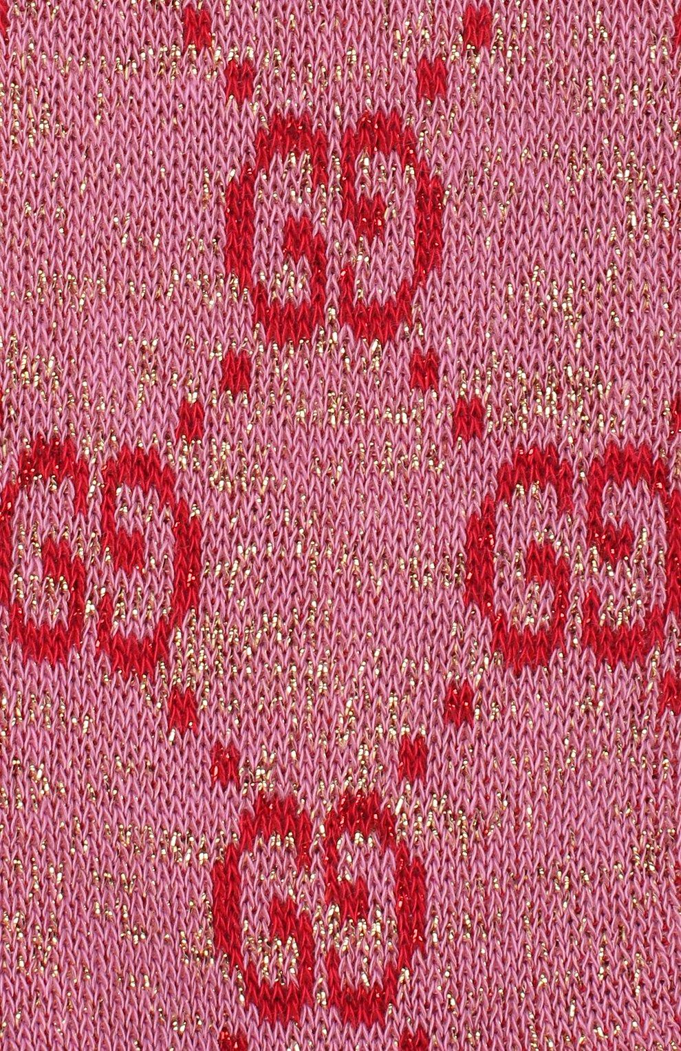 Женские гольфы GUCCI розового цвета, арт. 476525/3G199   Фото 2