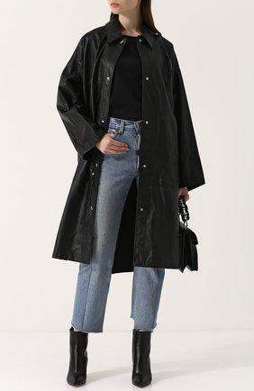Однотонное кожаное пальто свободного кроя Yves Salomon черного цвета | Фото №1