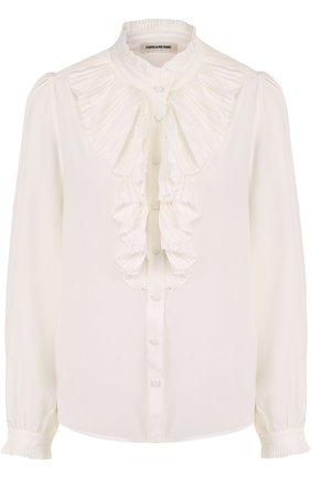 Шелковая блуза с воротником-стойкой и плиссированным оборками | Фото №1
