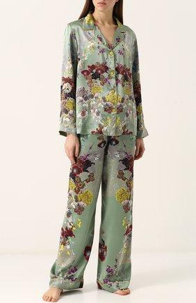 Шелковая пижама с контрастным принтом | Фото №1