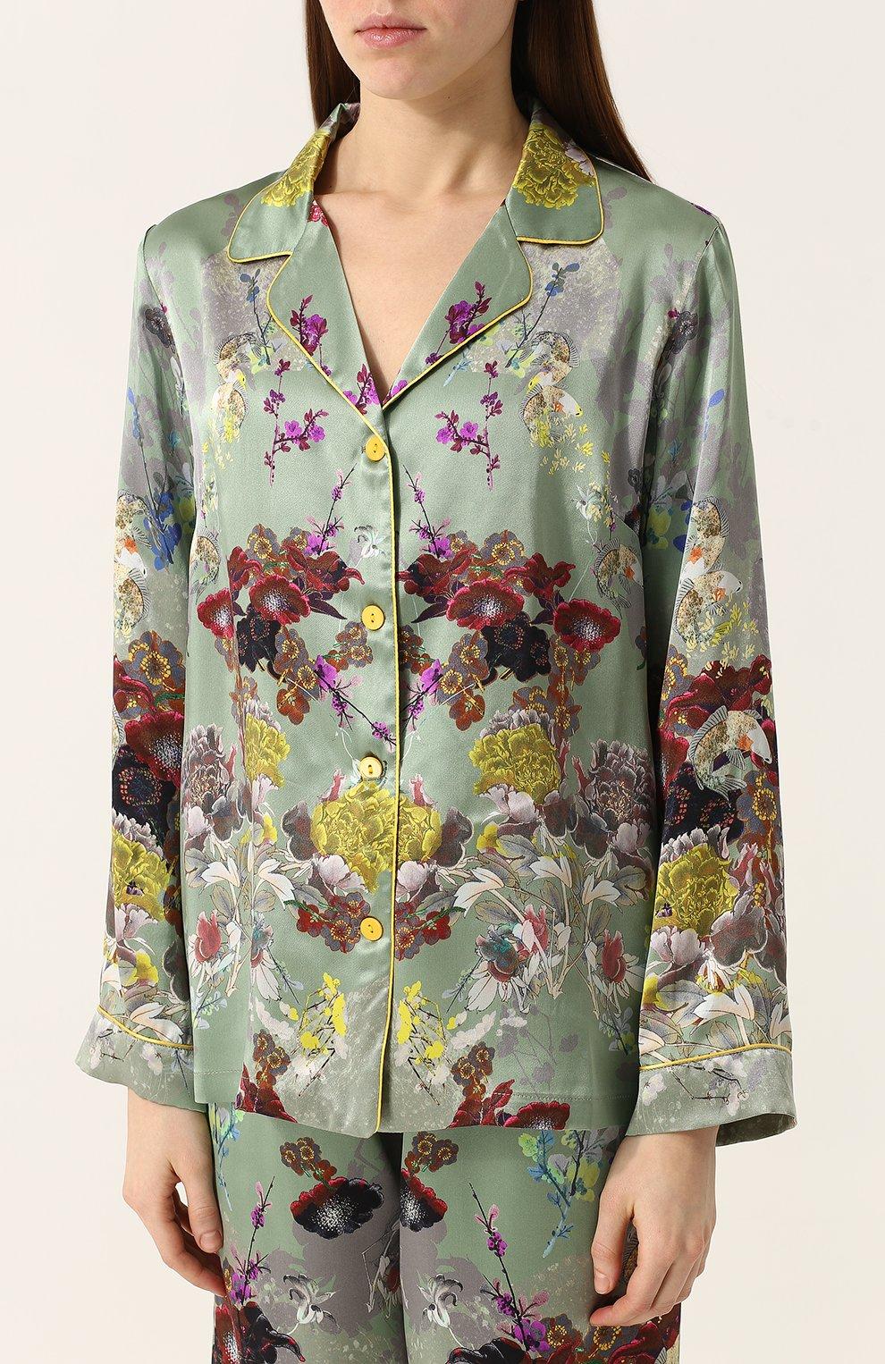 Шелковая пижама с контрастным принтом | Фото №2