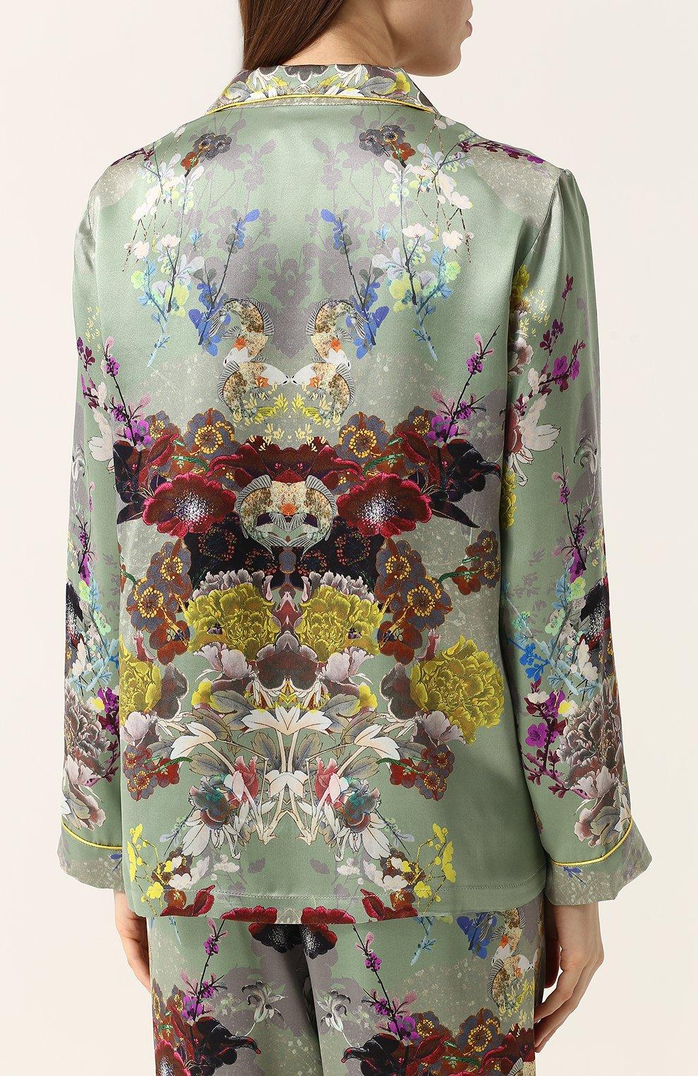 Шелковая пижама с контрастным принтом | Фото №3