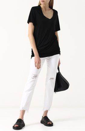 Однотонная удлиненная футболка с драпировкой Ann Demeulemeester черная | Фото №1