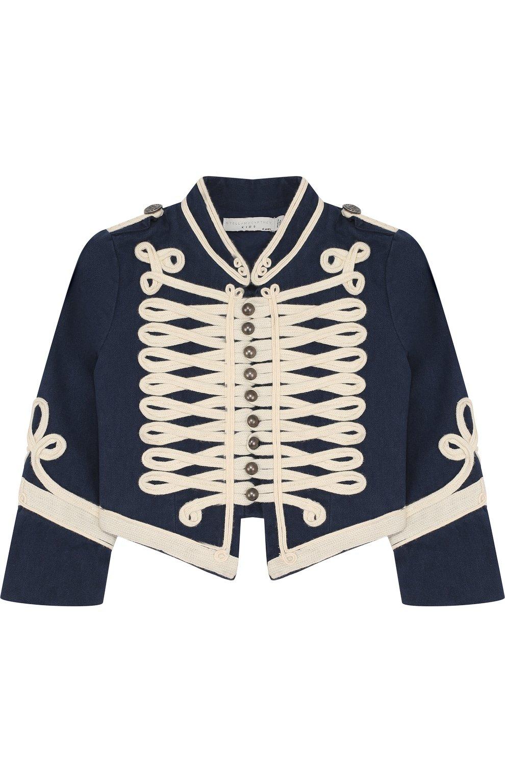 Укороченный хлопковый пиджак с контрастной отделкой и воротником-стойкой | Фото №1