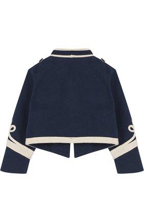 Укороченный хлопковый пиджак с контрастной отделкой и воротником-стойкой | Фото №2