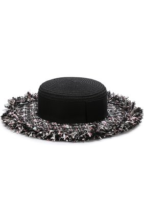 Шляпа с отделкой из твида Eugenia Kim черного цвета | Фото №1