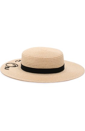 Шляпа Colette с лентой и аппликацией Eugenia Kim бежевого цвета | Фото №1