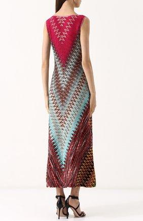 Приталенное вязаное платье-миди с V-образным вырезом | Фото №4