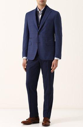 Шерстяные брюки прямого кроя Canali темно-синие | Фото №1