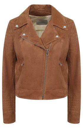 Укороченная замшевая куртка с косой молнией | Фото №1