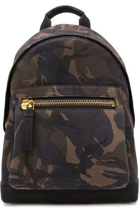 Кожаный рюкзак с камуфляжным принтом | Фото №1