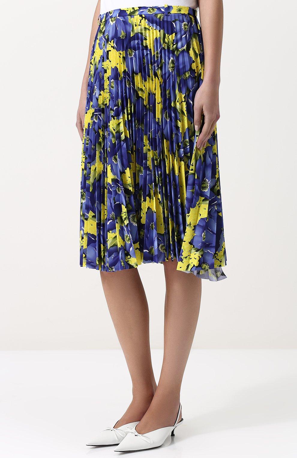 174e784716ea Женская желтая плиссированная юбка-миди с принтом BALENCIAGA — купить за  134000 руб. в ...
