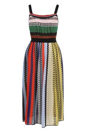 Приталенное вязаное платье-миди Missoni разноцветное | Фото №1
