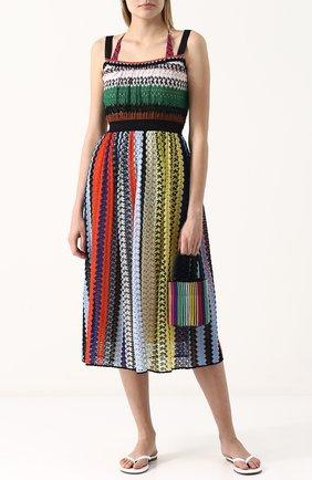 Приталенное вязаное платье-миди Missoni разноцветное | Фото №2