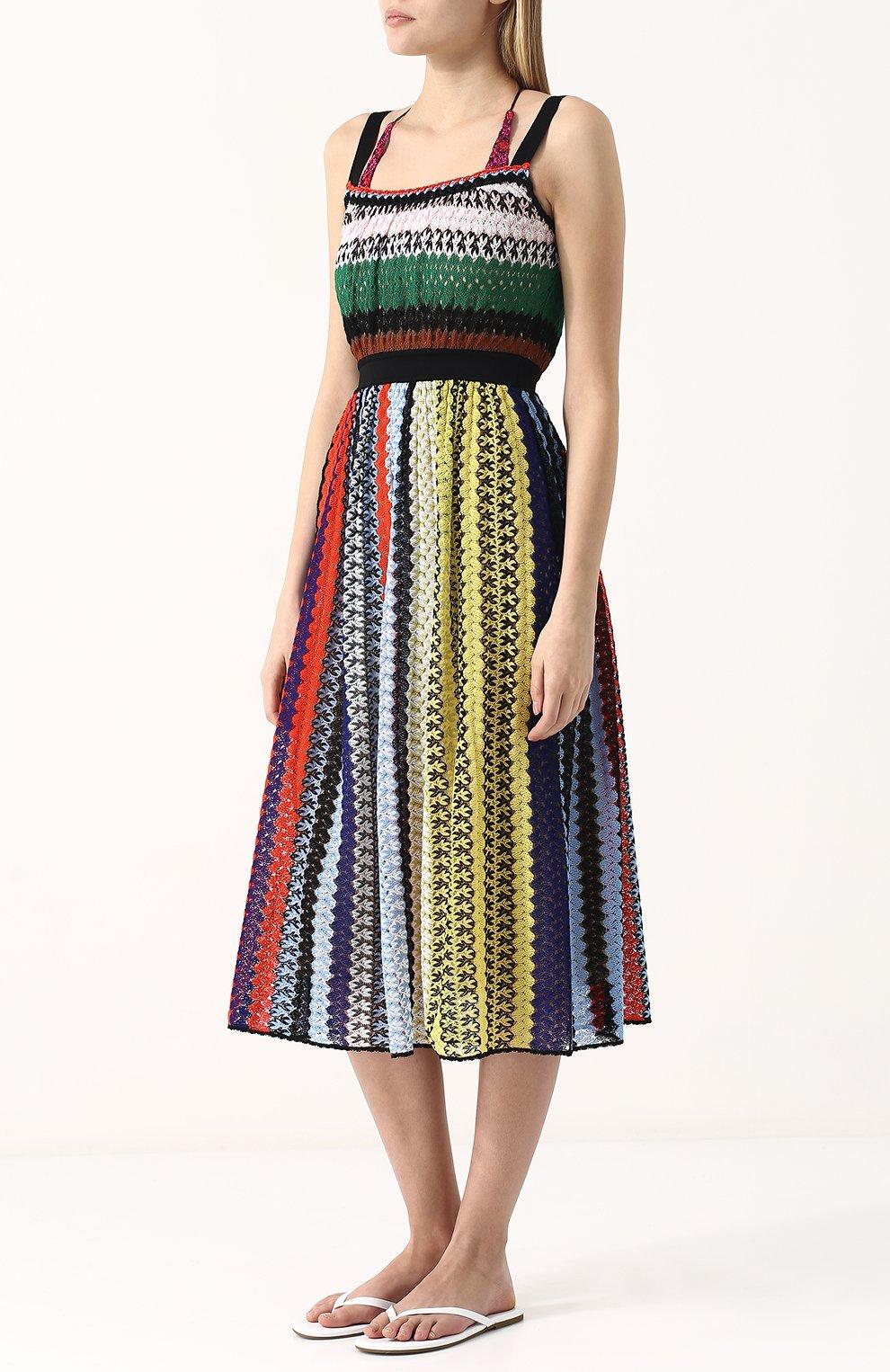 Приталенное вязаное платье-миди Missoni разноцветное | Фото №3