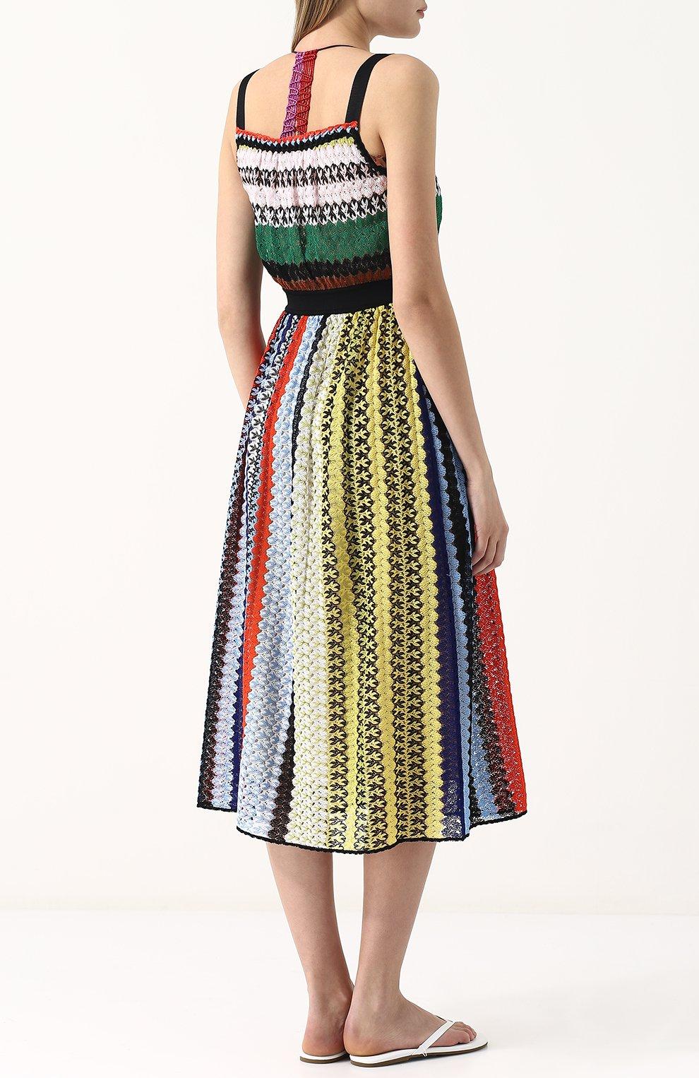 Приталенное вязаное платье-миди Missoni разноцветное | Фото №4