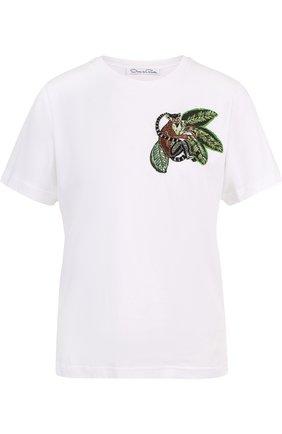 Хлопковая футболка прямого кроя с вышивкой | Фото №1