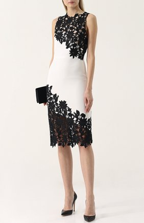 Приталенное платье-миди с кружевной отделкой Alice + Olivia черно-белое   Фото №1