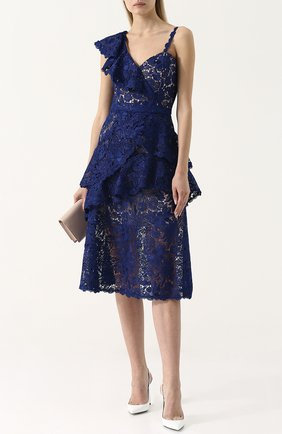Приталенное кружевное платье-миди асимметричного кроя Alice + Olivia синее   Фото №1
