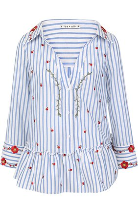 Женская хлопковая блуза в полоску с вышивкой и оборкой Alice + Olivia, цвет голубой, арт. CC712D25012 в ЦУМ   Фото №1