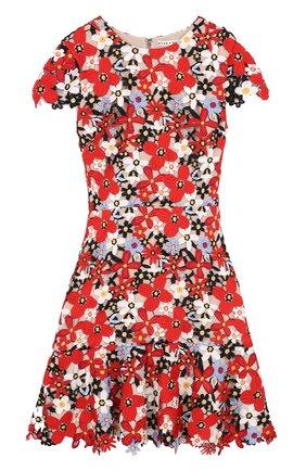 Приталенное кружевное мини-платье Alice + Olivia красное   Фото №1
