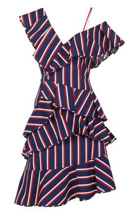 Хлопковое мини-платье асимметричного кроя с оборками Alice + Olivia синее   Фото №1