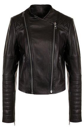 Приталенная кожаная куртка с косой молнией Alice + Olivia черная   Фото №1