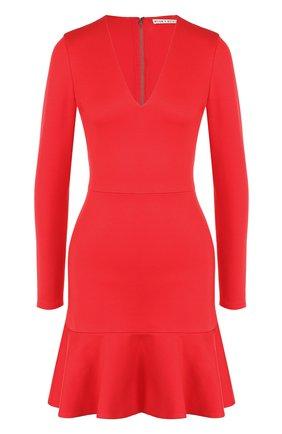 Приталенное мини-платье с длинным рукавом и V-образным вырезом Alice + Olivia красное   Фото №1