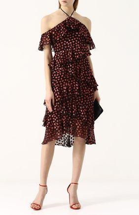 Приталенное платье-миди с оборками и открытыми плечами Alice + Olivia черное   Фото №1