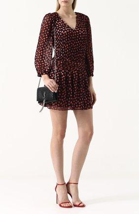 Приталенное мини-платье с принтом и V-образным вырезом Alice + Olivia черное   Фото №1