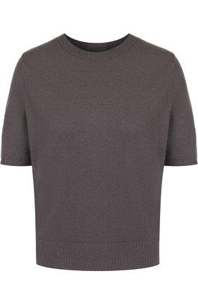 Однотонный кашемировый пуловер с коротким рукавом | Фото №1