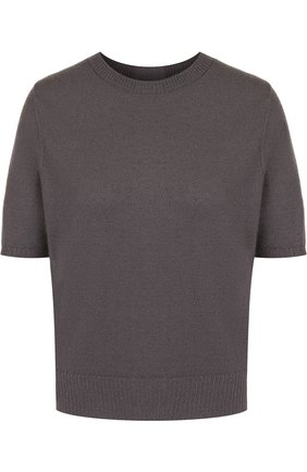 Однотонный кашемировый пуловер с коротким рукавом Rick Owens серый | Фото №1