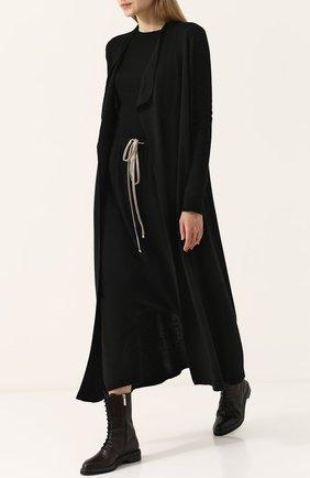Однотонное кашемировое пальто с поясом Rick Owens черного цвета | Фото №1