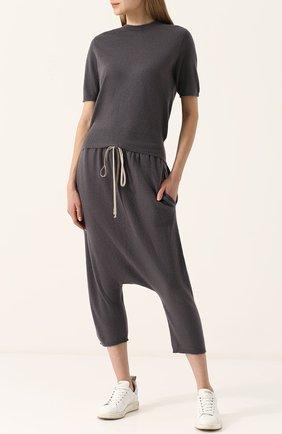 Кашемировые брюки с заниженной линией шага Rick Owens черные | Фото №1