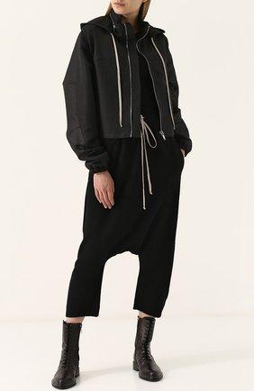 Полупрозрачная куртка на молнии с капюшоном Rick Owens черная | Фото №1