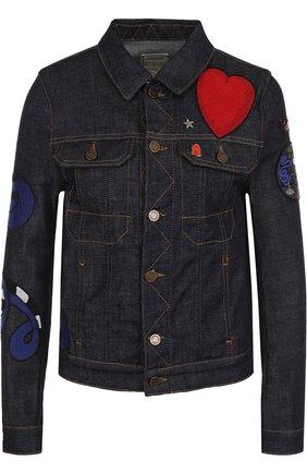 Джинсовая куртка с контрастными отделкой и прострочкой Zadig&Voltaire темно-синяя | Фото №1