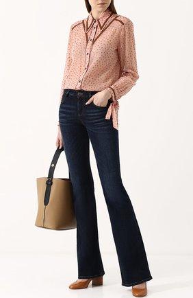 Женская блуза свободного кроя с контрастной отделкой Coach, цвет розовый, арт. 26231 в ЦУМ | Фото №1
