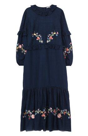 Платье-миди из смеси хлопка и шелка с вышивкой | Фото №1