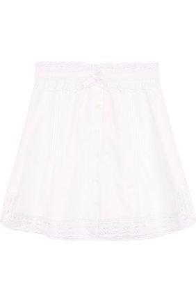 Хлопковая юбка с кружевной отделкой | Фото №1