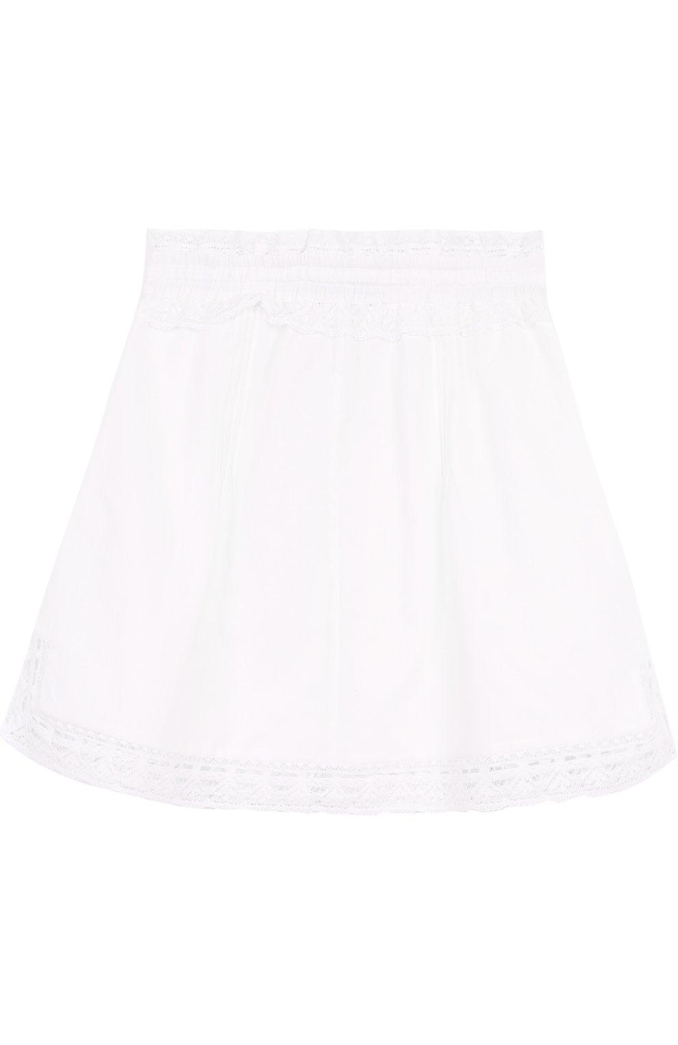 Хлопковая юбка с кружевной отделкой | Фото №2