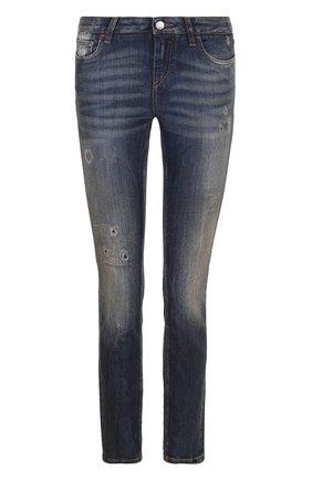 Женские джинсы-скинни с потертостями DOLCE & GABBANA темно-синего цвета, арт. FTAQWD/G889I | Фото 1