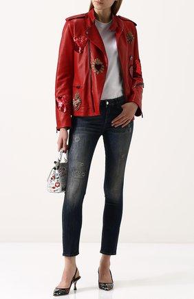 Женские джинсы-скинни с потертостями DOLCE & GABBANA темно-синего цвета, арт. FTAQWD/G889I | Фото 2