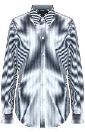 Женская приталенная хлопковая блуза в полоску POLO RALPH LAUREN синего цвета, арт. 211684070 | Фото 1