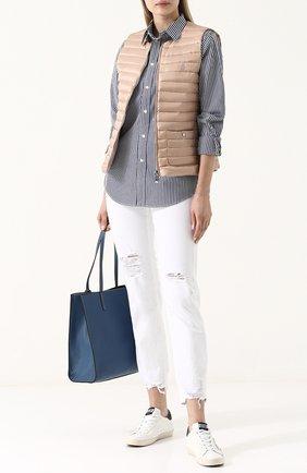 Женская приталенная хлопковая блуза в полоску POLO RALPH LAUREN синего цвета, арт. 211684070 | Фото 2