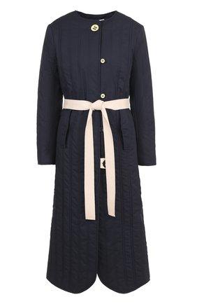 Пальто с круглым вырезом и контрастным поясом Walk of Shame синего цвета | Фото №1