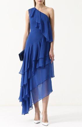 Шелковое платье асимметричного кроя с оборками Alice + Olivia синее   Фото №1