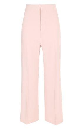 Укороченные расклешенные брюки со стрелками Alice + Olivia светло-розовые   Фото №1