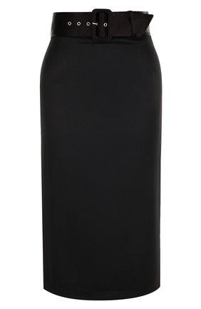 Однотонная юбка-миди с широким поясом Alice + Olivia черная   Фото №1