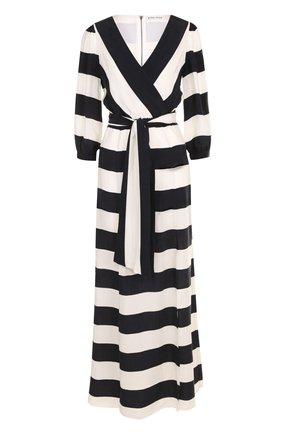 Платье-миди в контрастную полоску с широким поясом | Фото №1